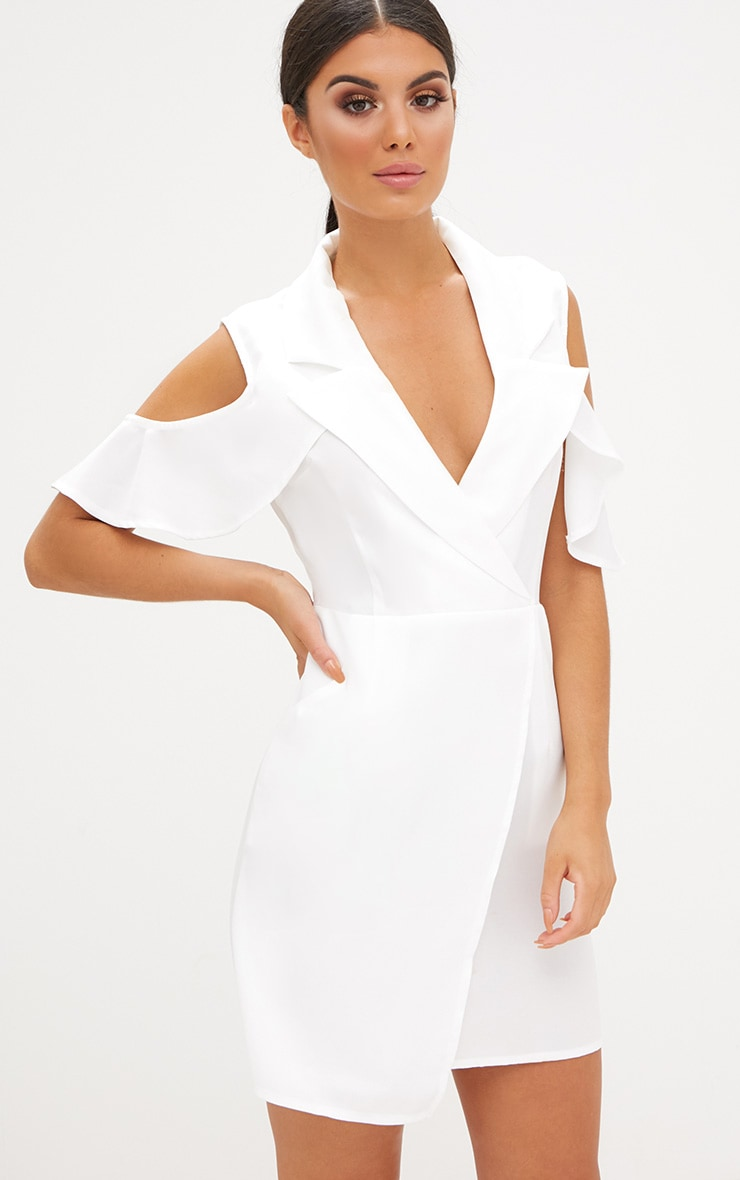 White Cold Shoulder Wrap Over Blazer Dress 1