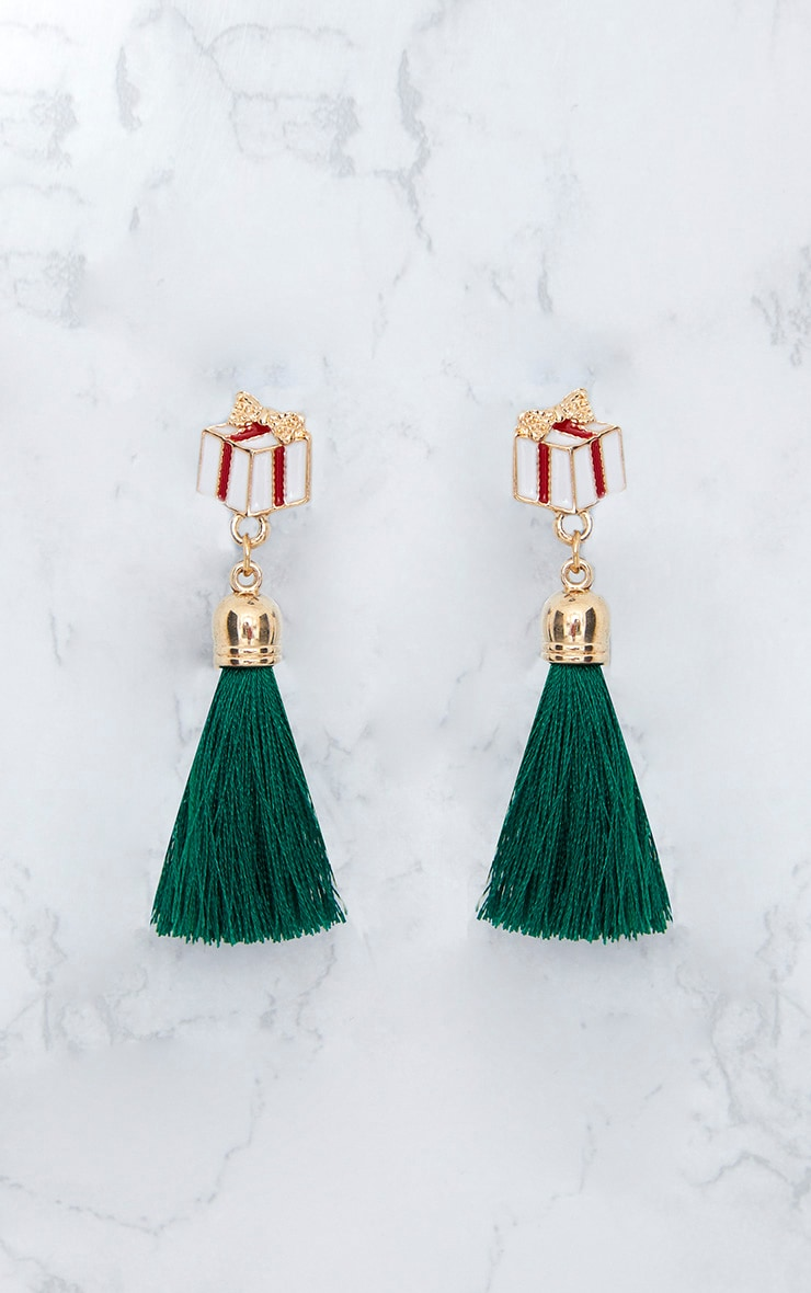 Green Christmas Presents Tassel Earrings 4