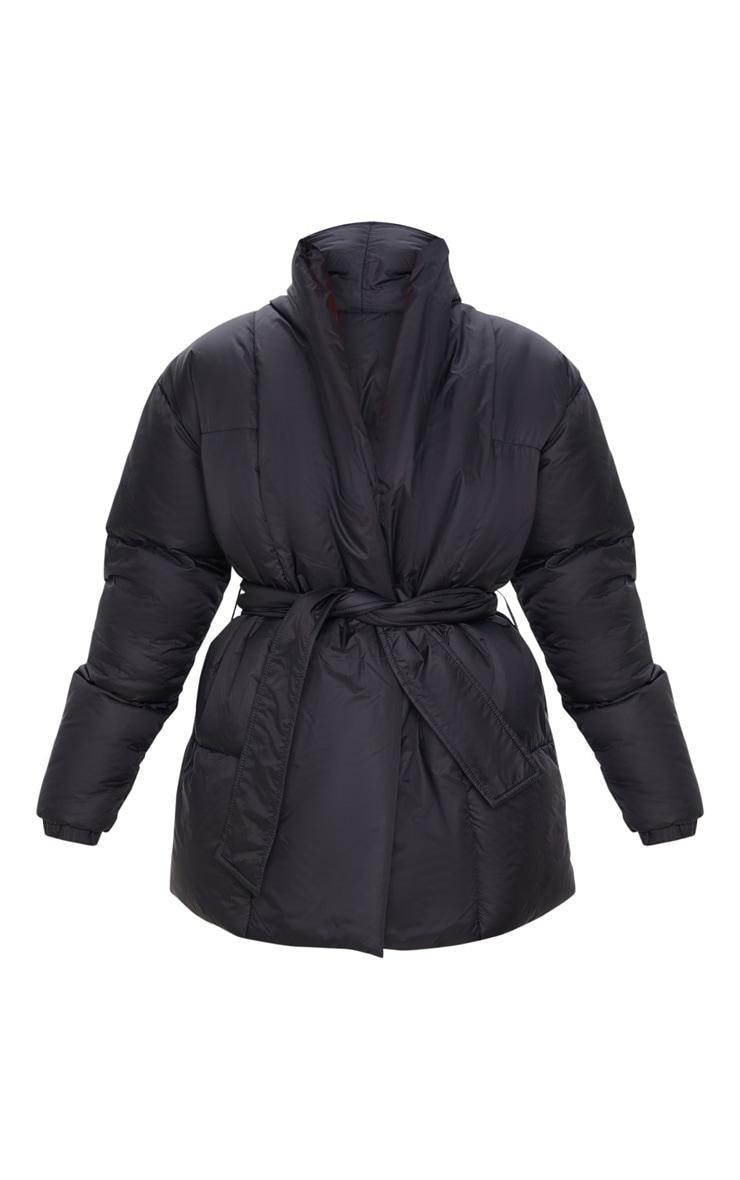 Black Collar Tie Waist Puffer Coat 3