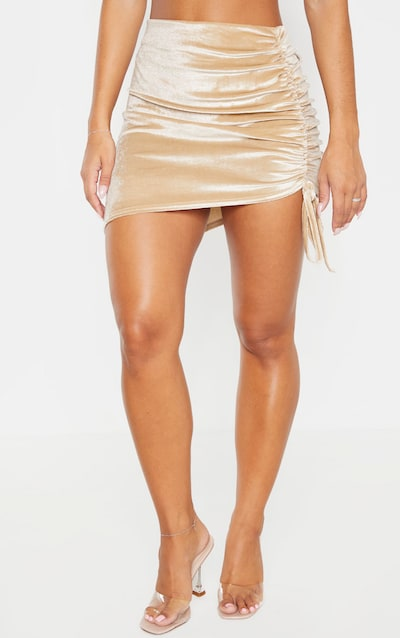 Champagne Velvet Ruched Side Asymmetric Skirt