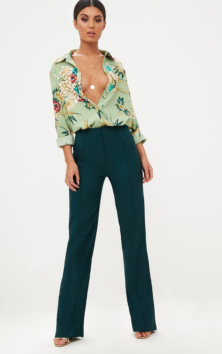 Emerald Green High Waisted Straight Leg Trousers 1