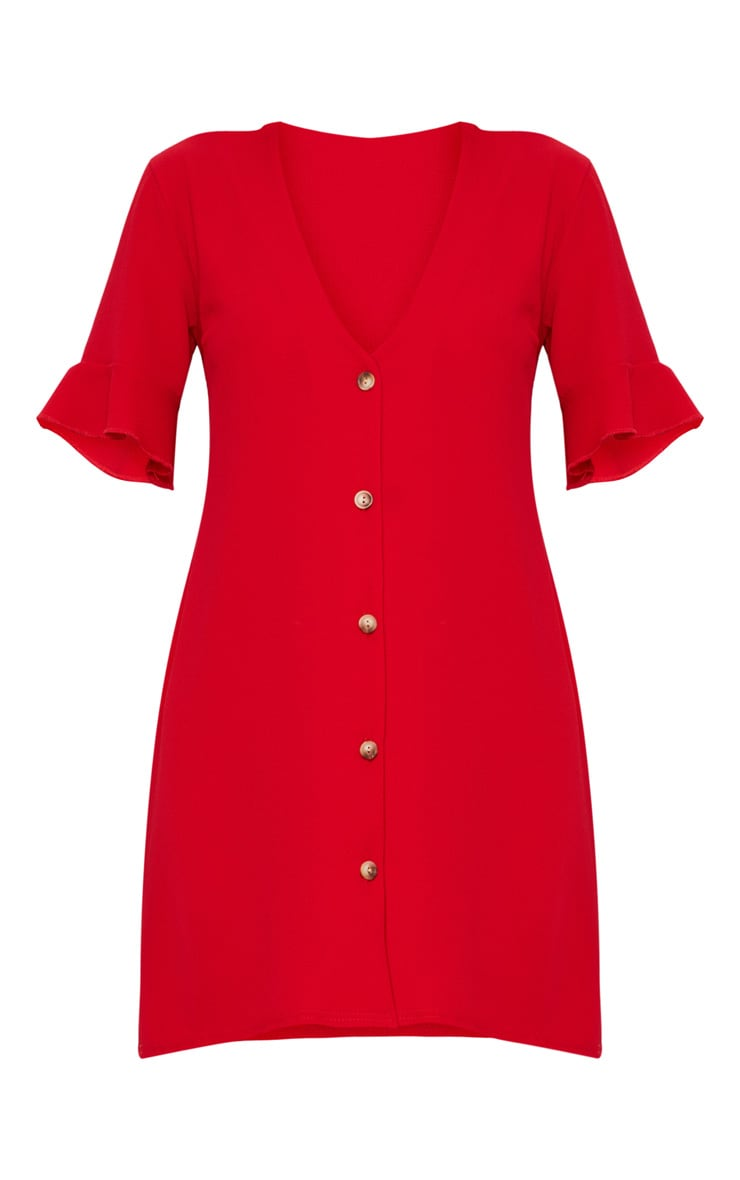 Red Oversized Button Front Shirt Dress 3