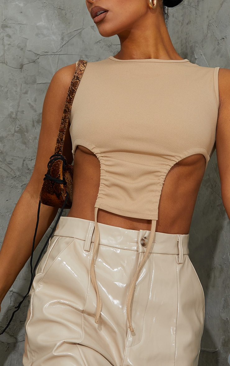 Stone Crepe Racer Neck Side Ruched Crop Top 4