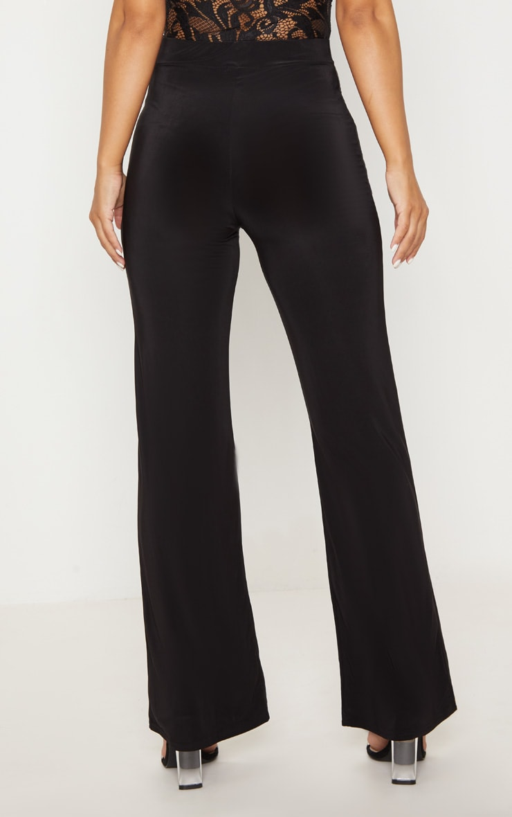 Petite Kyleigh Black Slinky Straight Leg Trouser 4