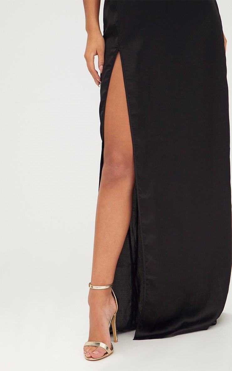 Black Satin Strappy Side Split Maxi Dress 5