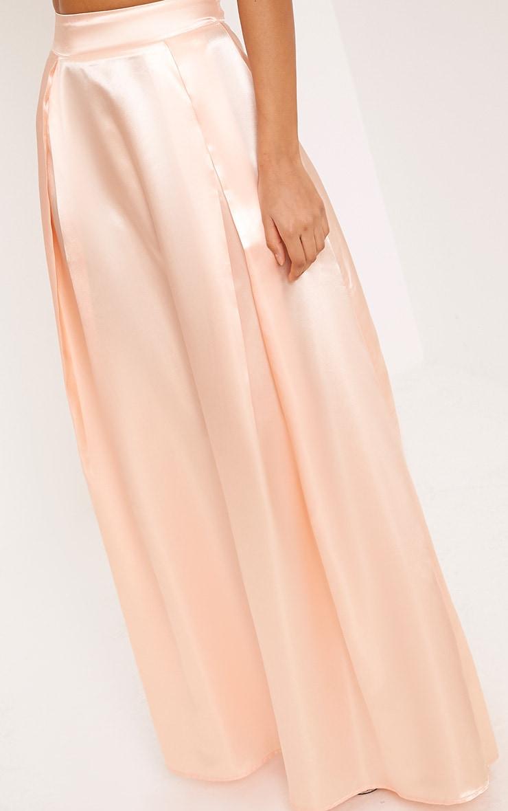 Ruthie Light Peach  Satin Maxi Prom Skirt  5