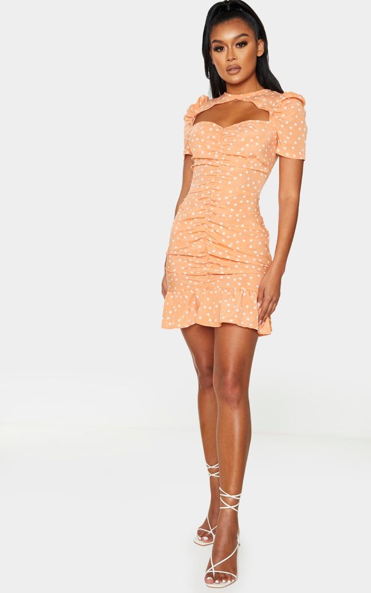 Orange Polka Dot Cut Out Ruched Bodycon Dress 3