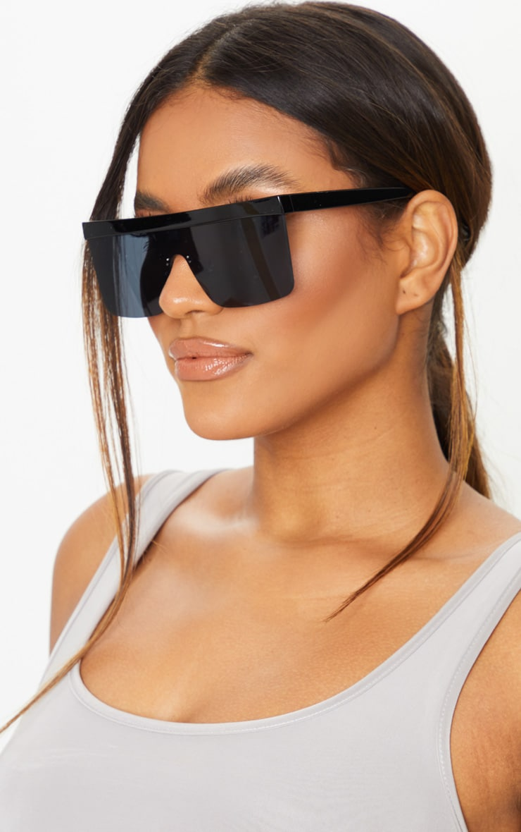 Black Chunky Frameless Sunglasses 1