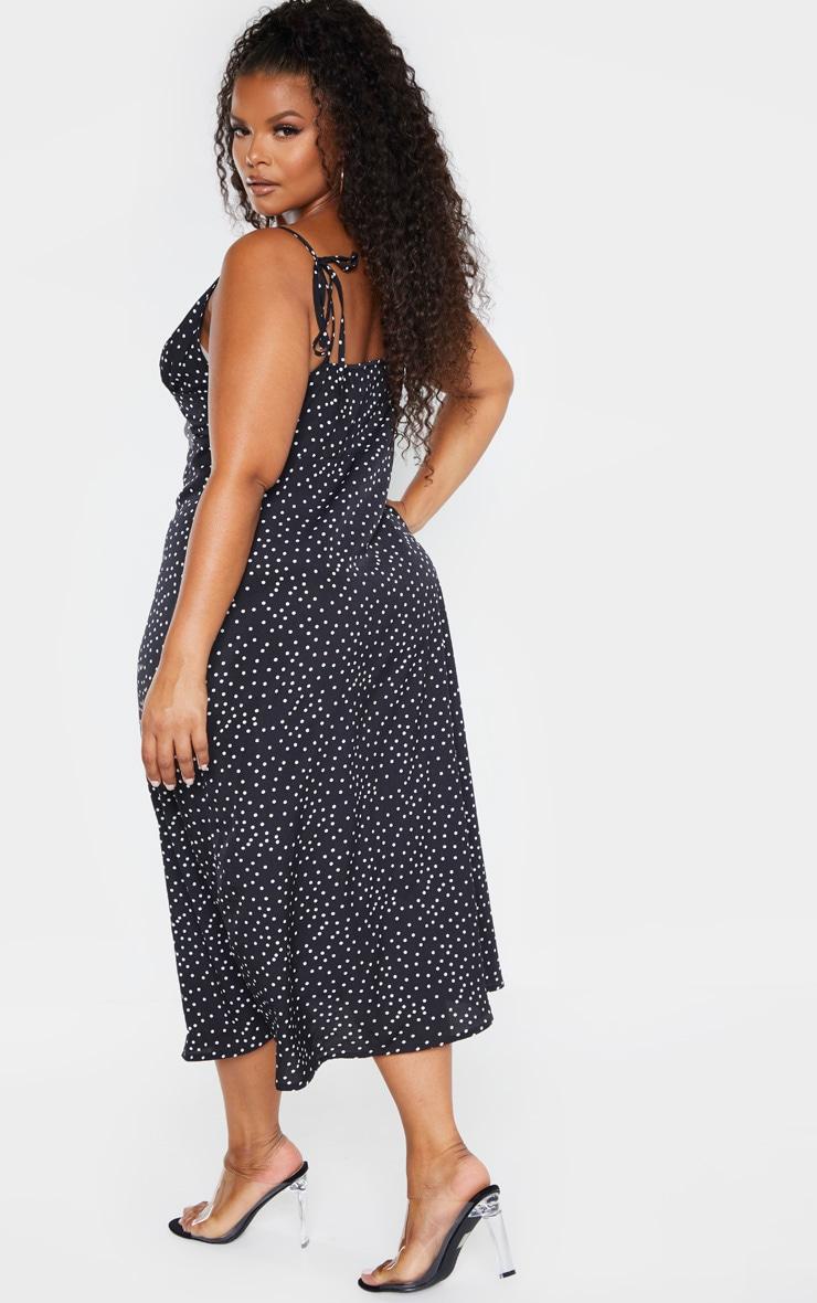 Plus Black Polka Dot Tie Shoulder Midi Dress 2