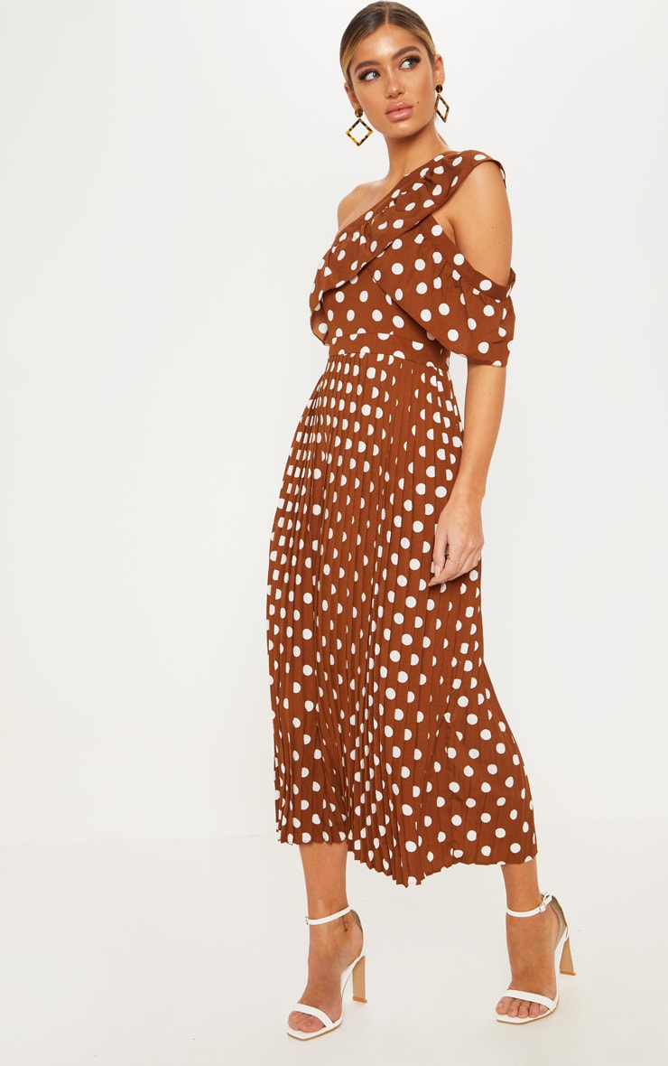 Chocolate Polka Dot One Shoulder Ruffle Detail Pleated Midi Dress 4