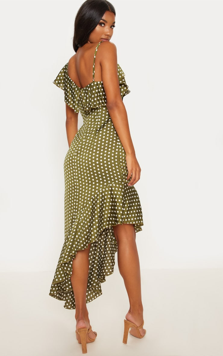 Sage Green Polka Dot Asymmetric Hem Maxi Dress 2
