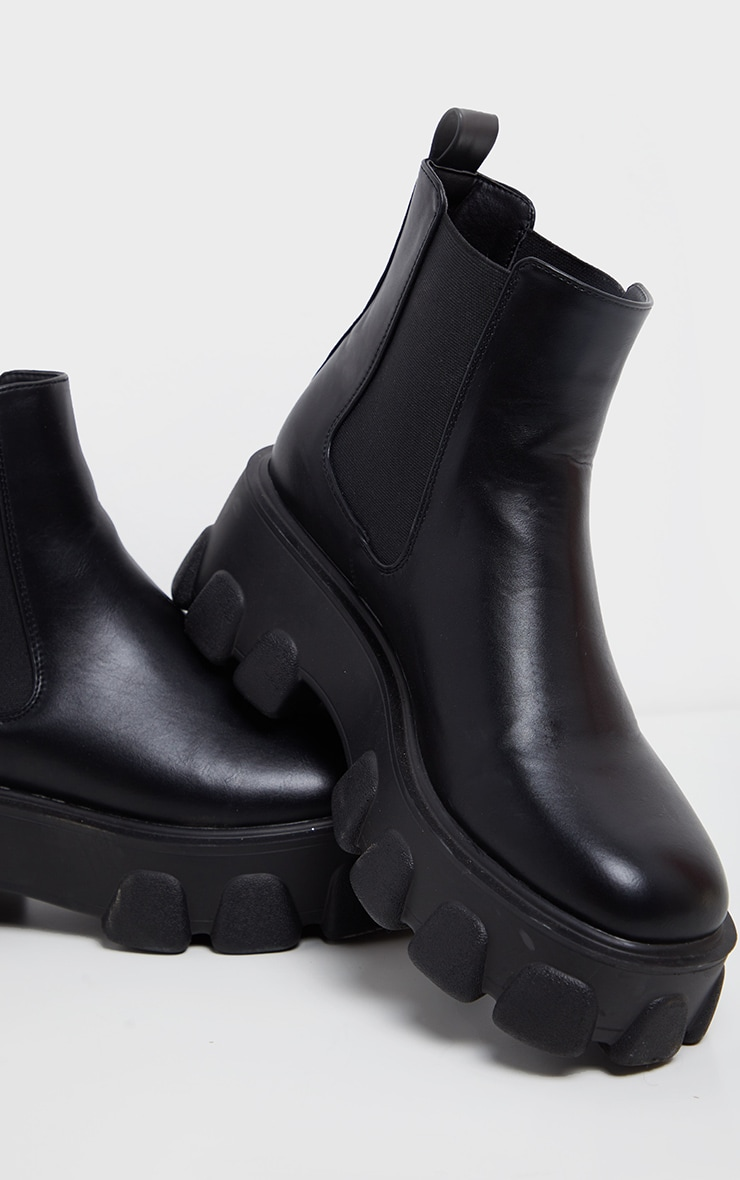 Black Chunky Heavy Cleated Sole Chelsea Ankle Boot 4