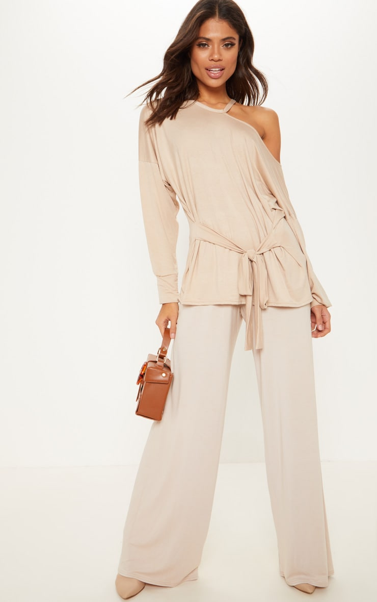 Stone Cut Out Belted Long Sleeve Top