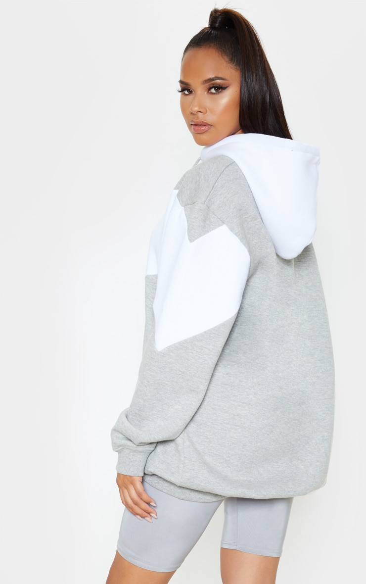 Grey Contrast Oversized Hoodie 2