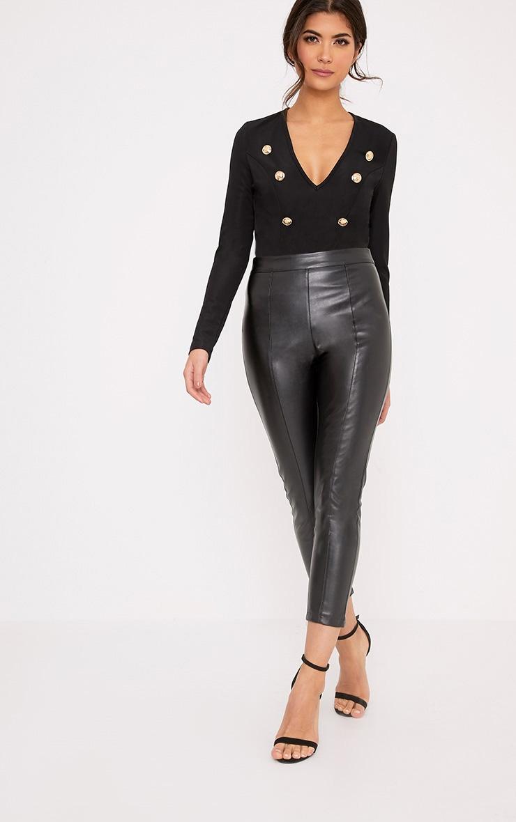 Lilie Black Military Style Button Longsleeve Bodysuit 2