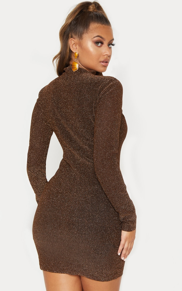 Bronze Textured Glitter High Neck Long Sleeve Bodycon Dress 3