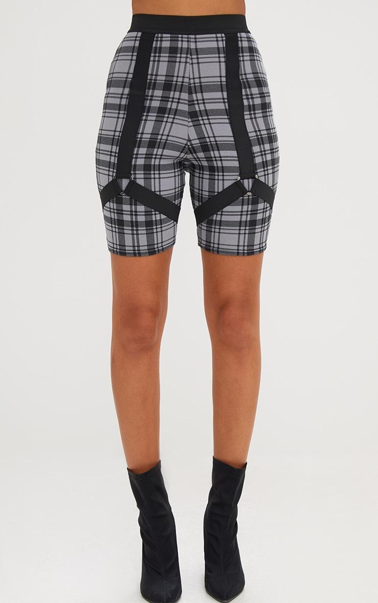 Grey Check Print Harness Shorts 2