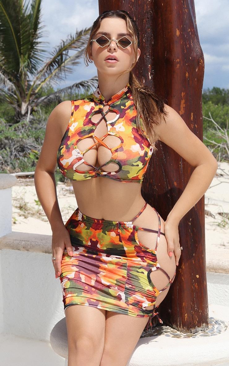 Shape Orange Camo Print Slinky Lace Up Side Bodycon Skirt 1