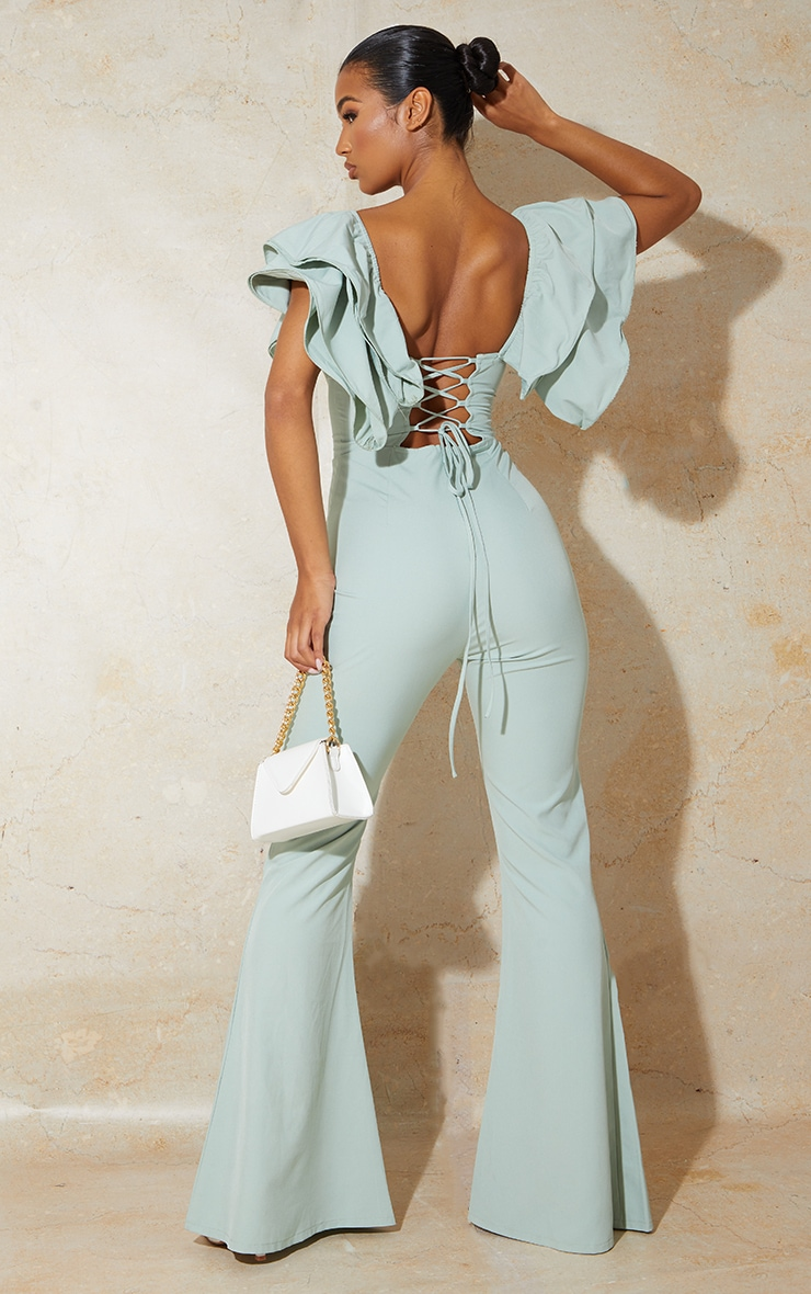 Sage Green Lace Back Frill Sleeve Jumpsuit 1