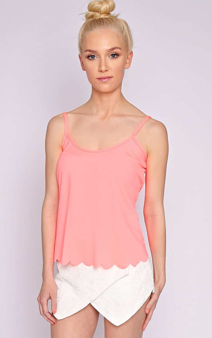 Kailey Neon Pink Scallop Vest 1