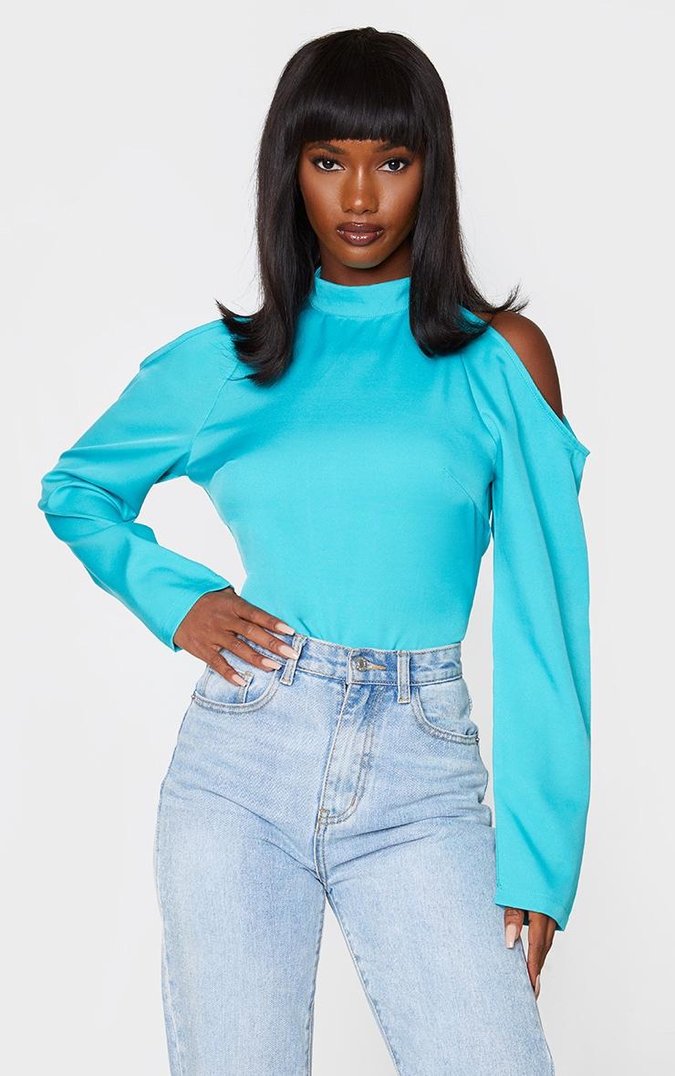 Blue Woven Cold Shoulder High Neck Bodysuit 1