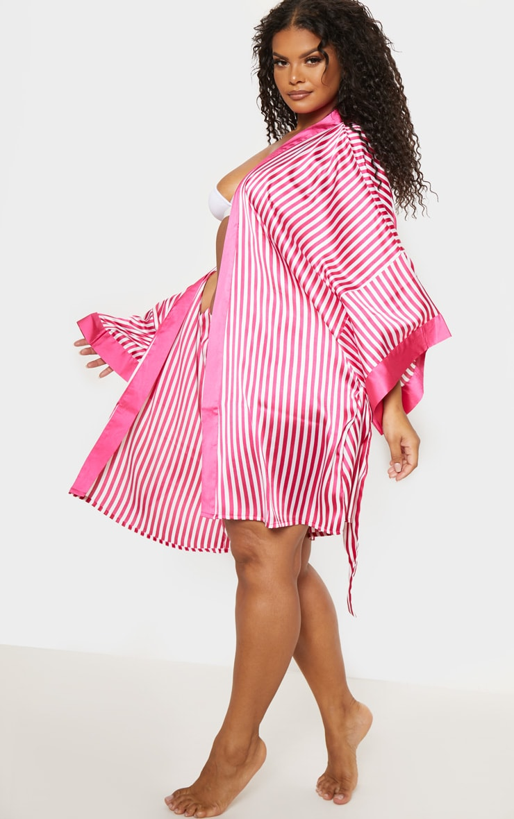PRETTYLITTLETHING Plus Fuchsia Striped Satin Robe 5