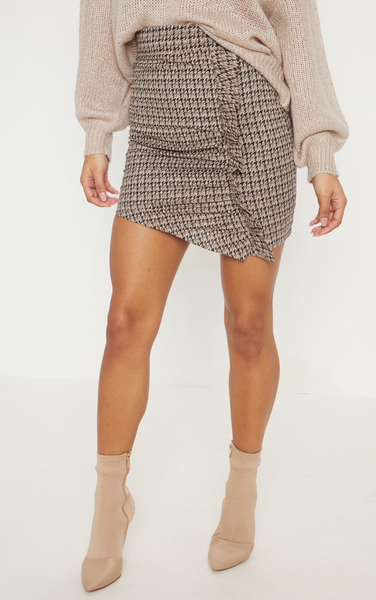 Black Dogtooth Check Ruched Detail Mini Skirt  2