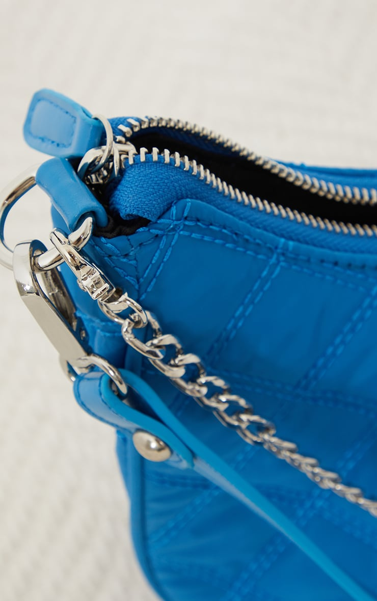 Electric Blue Quilted Silver Chain Detail Shoulder Bag 3