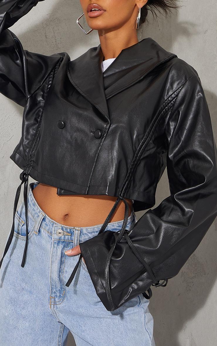 Black Faux Leather Ruched Side Tie Sleeve Cropped Biker Jacket 4