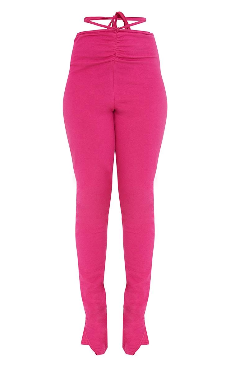 Petite Pink Ruched Waist Wrap Around Split Hem Leggings 5