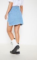 cf9a4e1965c Petite Light Wash Distressed Front Rip Denim Skirt image 4