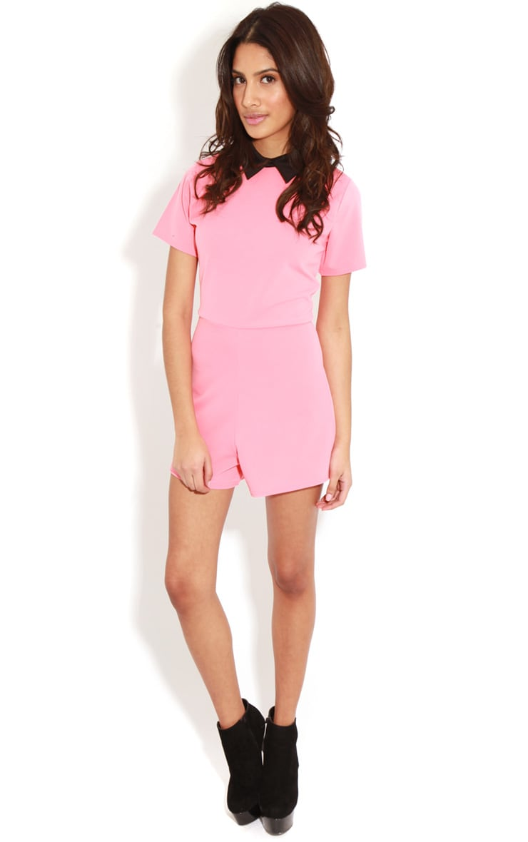 Edie Pink Playsuit With Black Collar Detail-S/M 3
