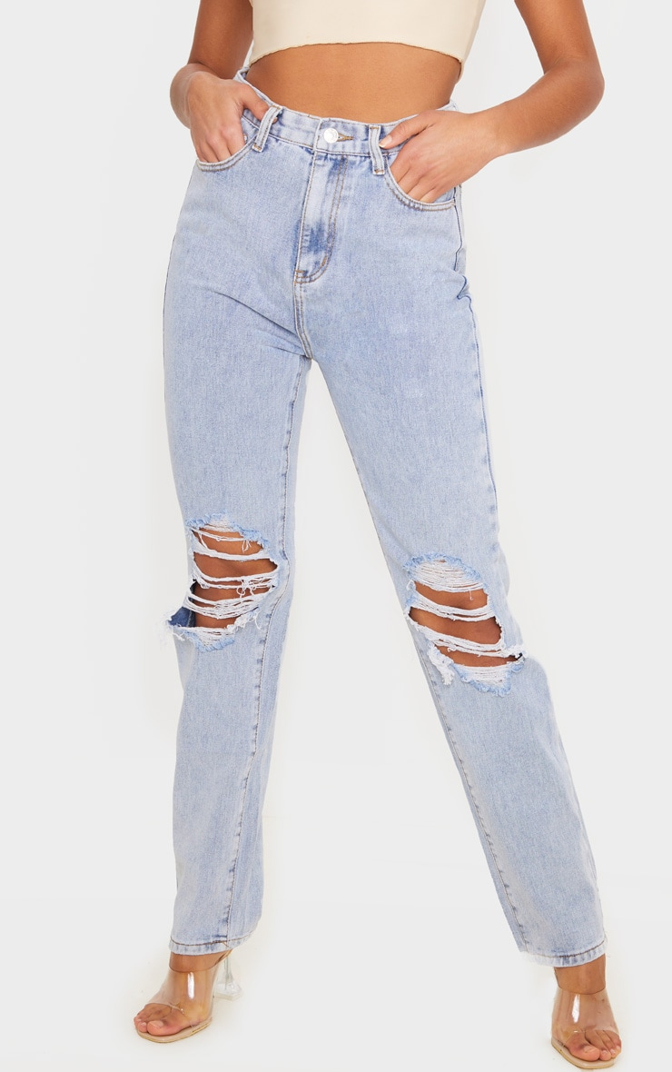 Light Wash Ripped Knee Long Leg Straight Jeans 2