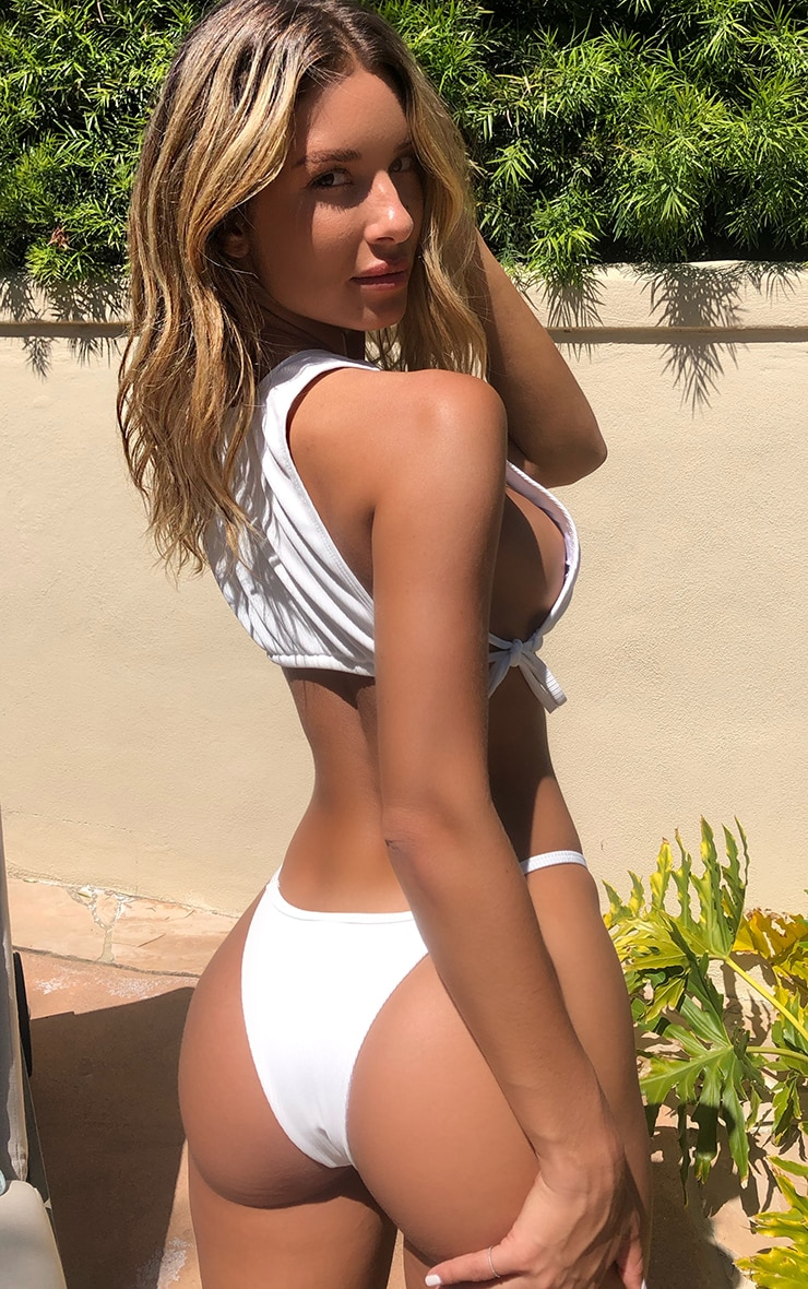 White Ribbed Padded High Neck Tie Side Bikini Top 2