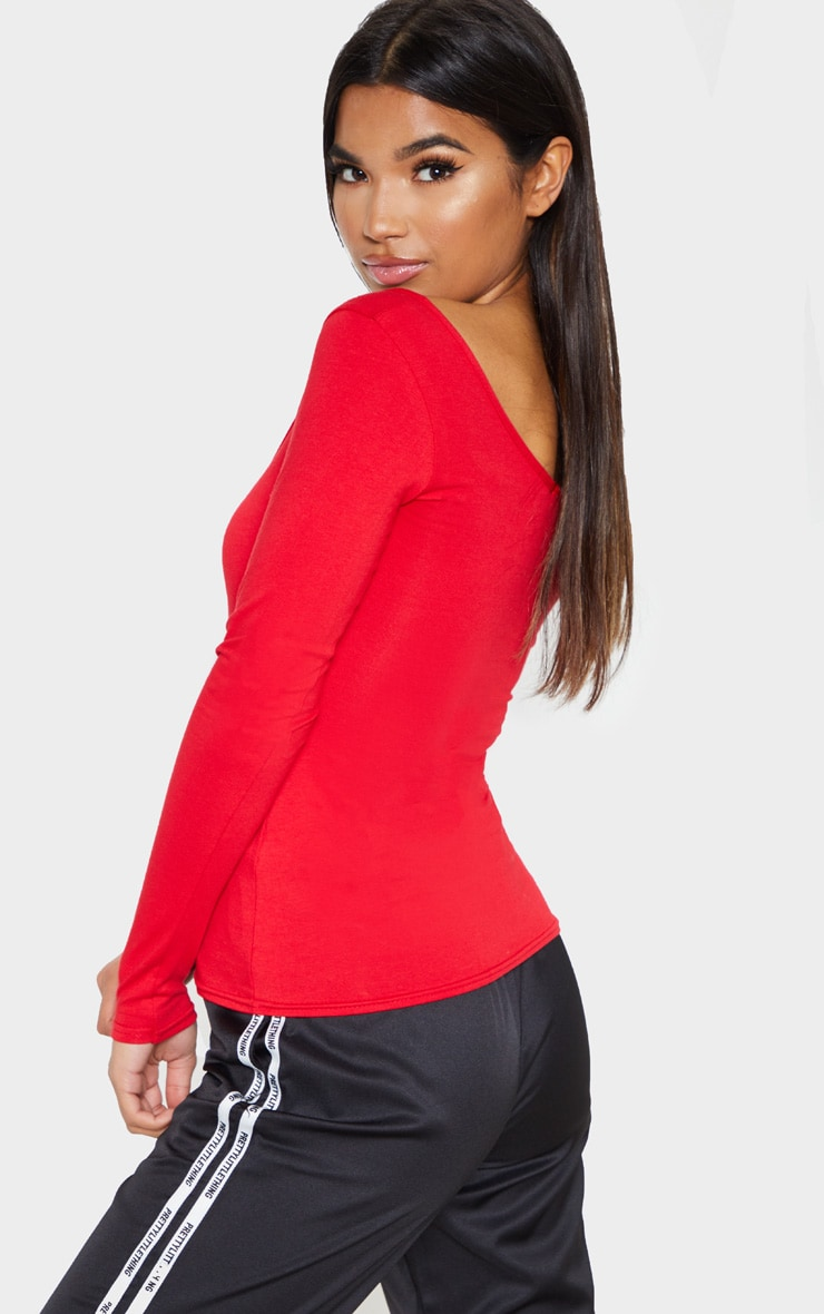 Red Cotton Scoop Neck Long Sleeve Top 2