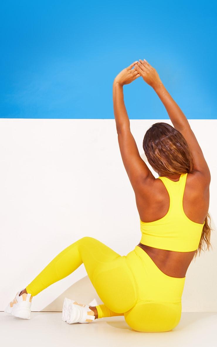 Yellow Seamless Booty Detail Gym Leggings 1
