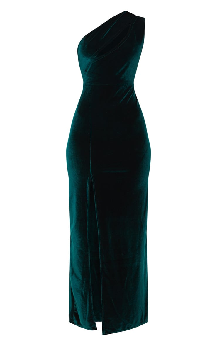 Emerald Green Velvet One Shoulder Split Leg Maxi Dress 4