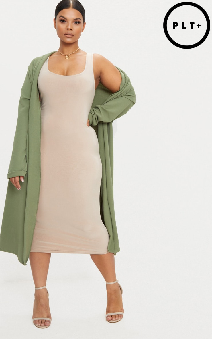 Plus Khaki Crepe Maxi Duster Jacket 1