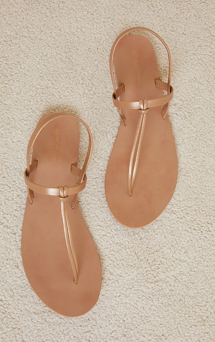 Bronze Real Leather PU Toe Thong Sling Back Sandals 4