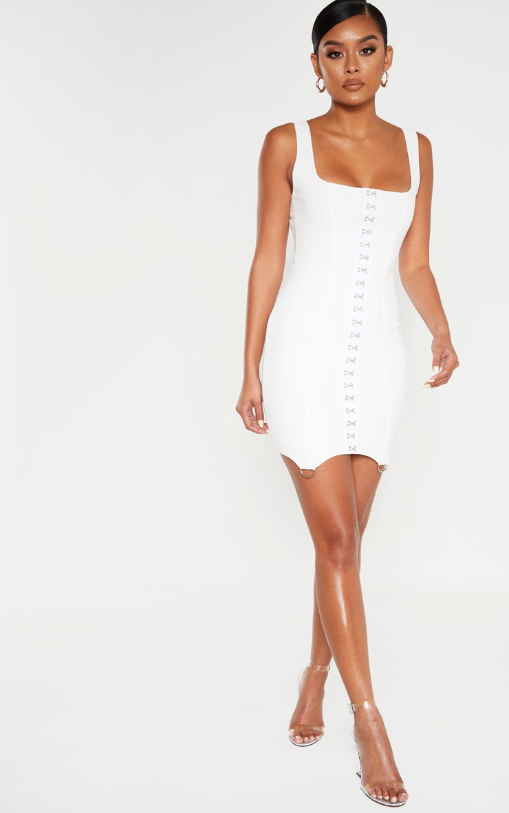 White Sleeveless Binding Detail Hook And Eye Bodycon Dress 4