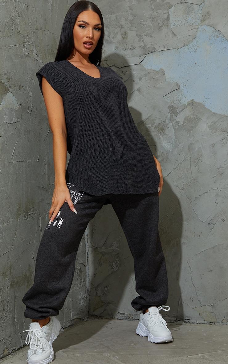 Charcoal V Neck Knitted Side Split Vest 3