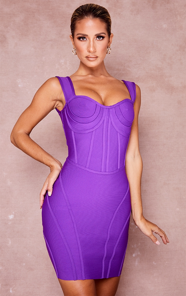 Purple Bandage Bust Detail Sleeveless Corset Bodycon Dress 1