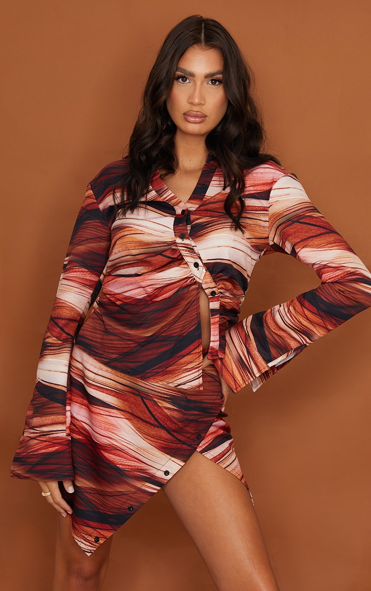 Tall  Brown Ruched Stripe Printed Blouse 1