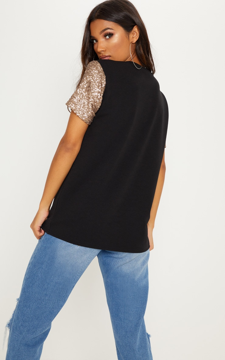 Black Sequin Sleeve Oversized T shirt 2