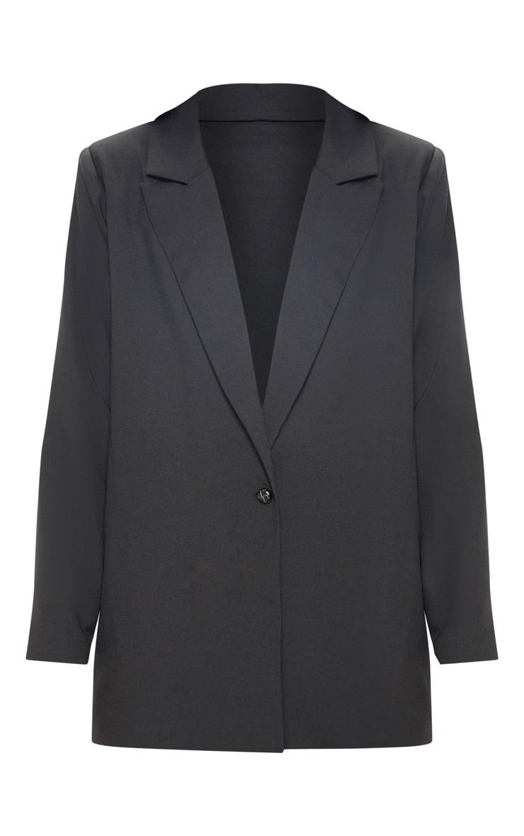 Black Oversized Light Weight Button Detail Blazer 1