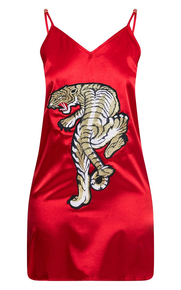 Jane Red Satin Applique Slip Dress 3