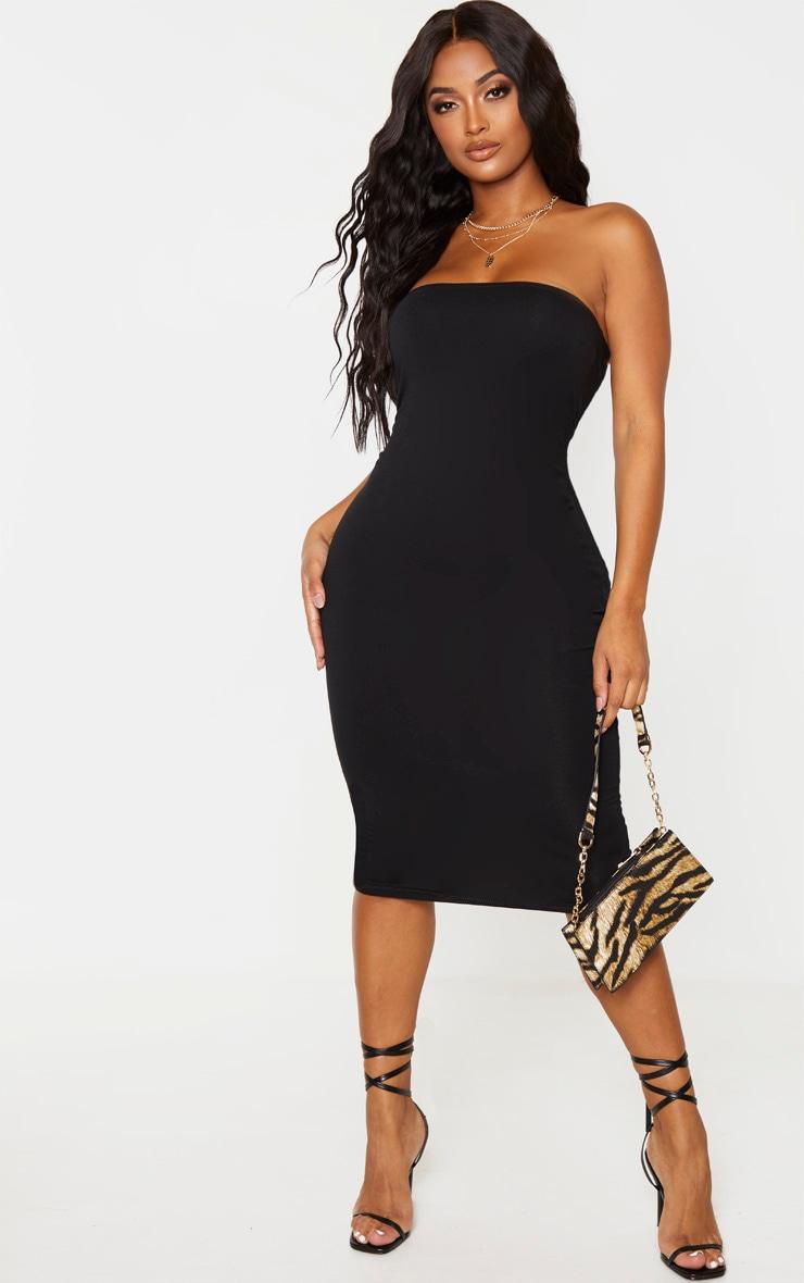 Shape Black Cotton Bandeau Midi Dress