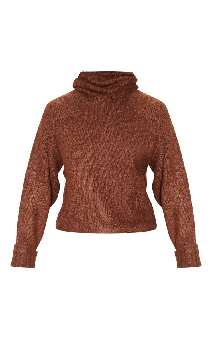 Brown Fluffy Chunky Roll Neck Jumper 3