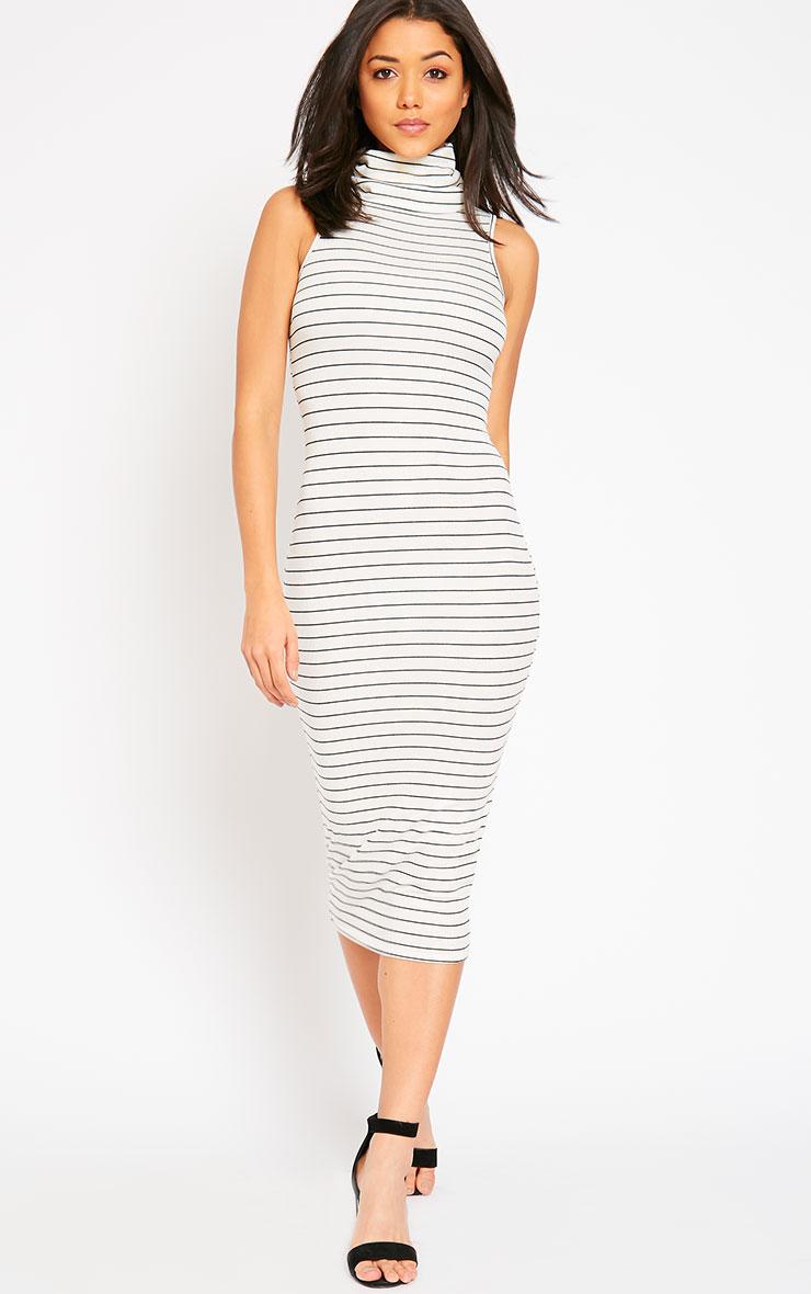 Felice Cream Stripe Roll Neck Dress 3
