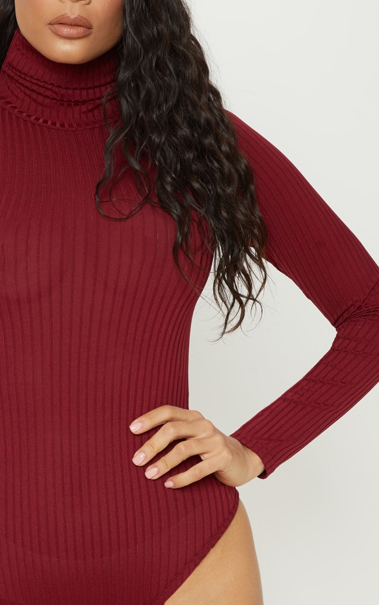 Maroon Rib Roll Neck Long Sleeve Bodysuit 6